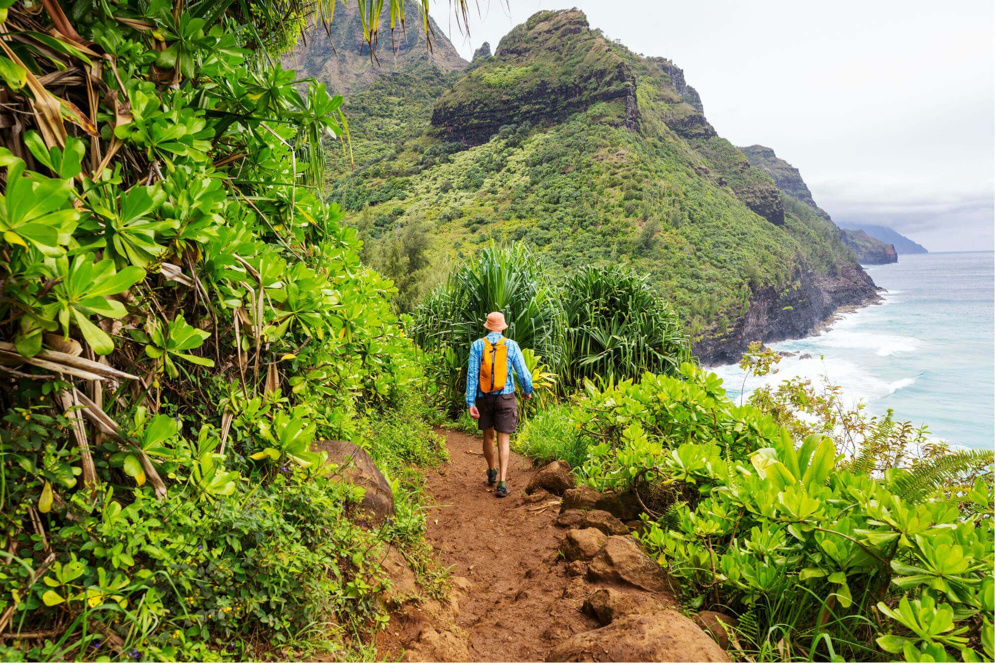 Man hiking in Kauai